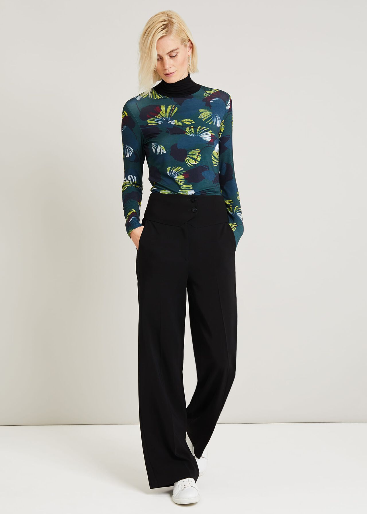 Lina Print Turtleneck Top